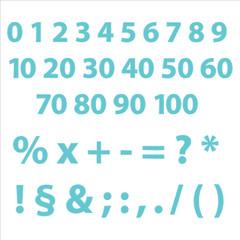 Ziffern editierbare Text Zeichen mit Grafikstile Stempel