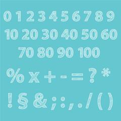 Ziffern editierbare Text Zeichen mit Grafikstile Scribble