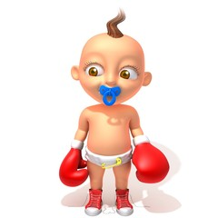 Baby Jake with red boxing gloves