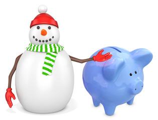 3d snowman with a piggy bank