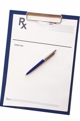 medical clipboard on white
