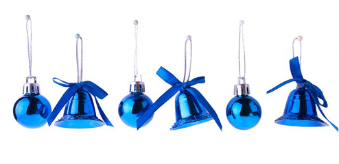 Bright Blue Christmas Toys Hanging in Row