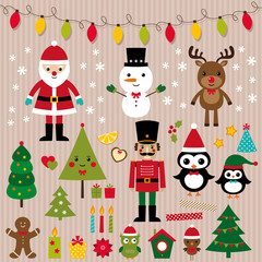 Christmas lights and design elements set