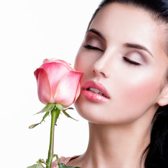 Fototapete - Sensual beautiful woman with pink rose.