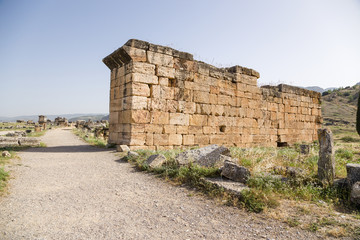 Hierapolis. Ruins in the archaeological zone of the necropolis