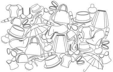 WOMEN CLOTHING AND SHOES BACKGROUND LINE
