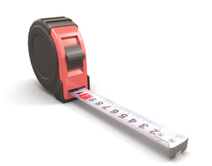 Tape measure on the white background close-up