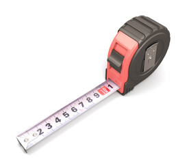 Tape measure on the white background