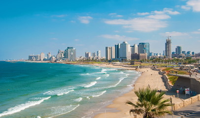 Views of the waterfront and beaches of Tel Aviv Fototapete