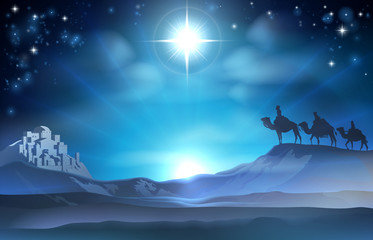 Christmas Nativity Star and Wise Men Wall mural