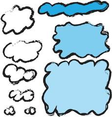 doodle set cloud speech bubble