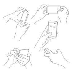 Hand holding smartphone sketch vector illustrations