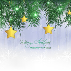 Christmas background with gold star and pine needles