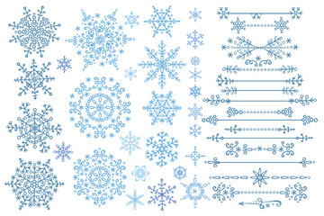 Snowflake set.Border set.Winter doodles decor