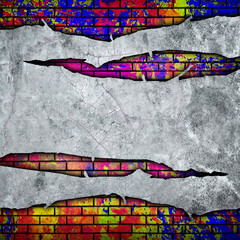 Fototapete - cracked wall with graffiti
