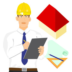 illustration of Architect or engineer with clipboard