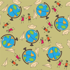 Seamless pattern with a globe on a journey, a paper airplane and
