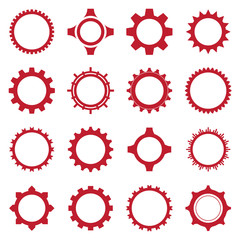 Gear icon set red design vector illustration