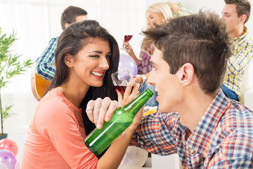 Cheerful Couple At House Party