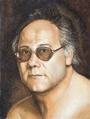 olio su tela di un uomo con occhiali scuri