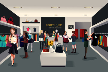 Inside modern clothing store