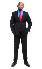 Full length black businessman isolated on white