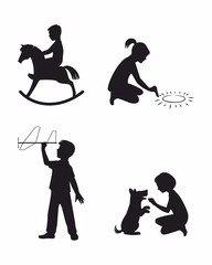 Set of four children playing