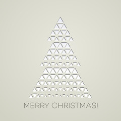 Merry Christmas tree with triangle shape