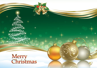 Christmas card with Christmas tree on an emerald background
