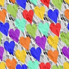 Rainbow transparency hearts on the gray background