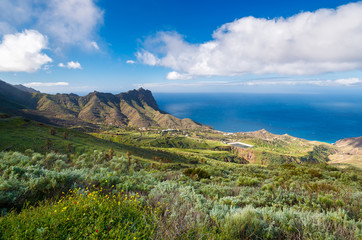 Tropical mountain landscape of La Gomera island, Spain