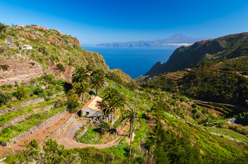 Mountain valley and ocean view on La Gomera island, Spain