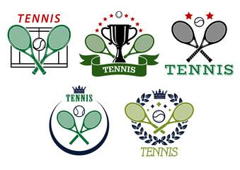 Tennis sport symbols and emblems