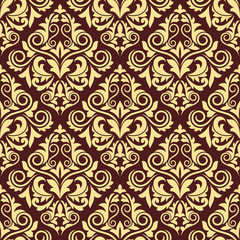 Ornate brown and yellow seamless arabesque pattern