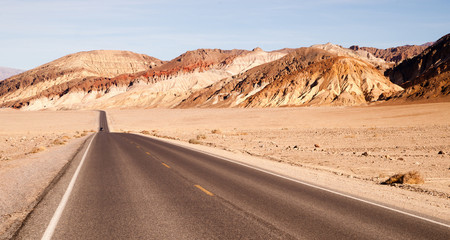 Lonely Car Long Highway Badwater Basin Death Valley