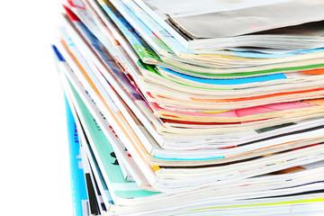 Many magazines close up