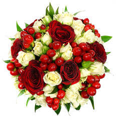Bridal bouquet of white and red roses
