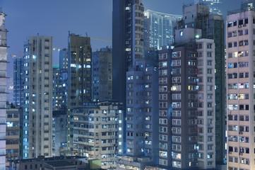 Buildings in Hong Kong at night