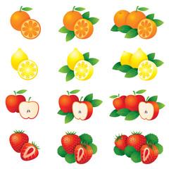 Orange, Lemon, Apple, Strawberry, Illustrate
