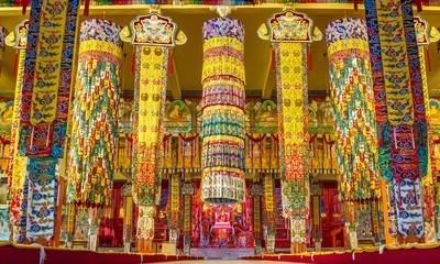Buddhist temple in Namdroling Monastery in Bylakuppe, Karnataka,