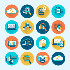 Database Analytics Icons Flat