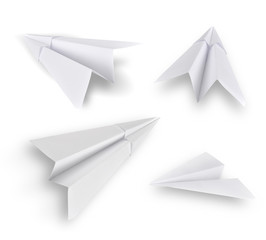 Set of paper planes isolated on white background.