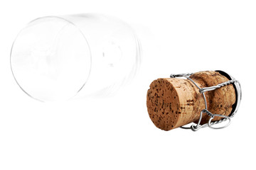 Champagne cork and champagne glass on a white background