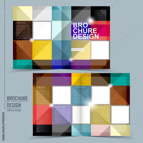 Colorful Geometric Style Half Fold Brochure Template Stock Image