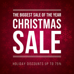 Christmas sale ad designed in modern flat style with snowflakes
