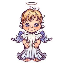 Vector illustration of cute angel