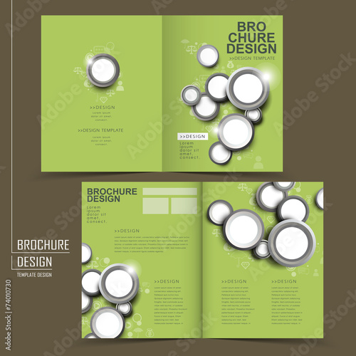 modern half fold brochure template design in green