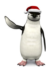 Penguin wearing Santa hat.
