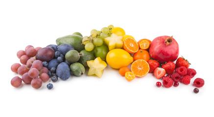 ripe fresh fruits as a rainbow