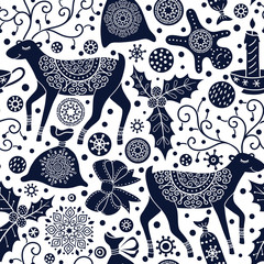 Christmas seamless pattern with deers